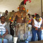 Iintombi of KwaBhaca Kingdom at Umkhosi wokukhahlela 2012 - King Madzikane II with Prince Mdutyane & Prince Phila Mdutyane